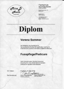 Diploma Pedicure